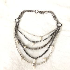 Stella & Dot Silver and Pearl layered Necklace